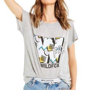 Wildfox NWT 90s No 9 Logo Heather Gray Tee Shirt